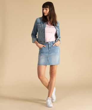 Jupe femme en jean avec marques d'usure vue6 - GEMO(FEMME PAP) - GEMO