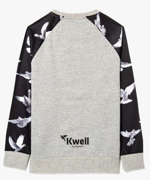 Sweat bi-matières à motifs colombes - Kwell vue2 - KWELL - GEMO