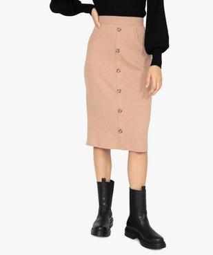 Jupe femme longueur midi coupe droite en maille côtelée vue1 - GEMO(FEMME PAP) - GEMO