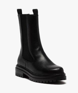 Boots femme unies style chelsea à semelle épaisse et crantée vue2 - GEMO (CASUAL) - GEMO