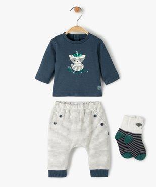 Ensemble bébé garçon 3 pièces : tee-shirt + chaussettes + pantalon - Sucre d'Orge vue1 - SUCRE D'ORGE - GEMO