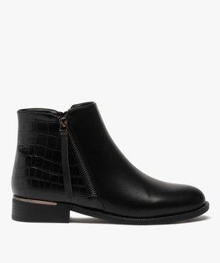 Boots femme unis à talon plat imitation croco vue1 - GEMO (CASUAL) - GEMO