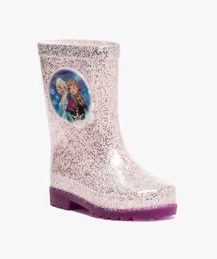 Bottes de pluie fille à paillettes avec semelle lumineuse Reine des neiges vue2 - REINE DES NEIGE - GEMO