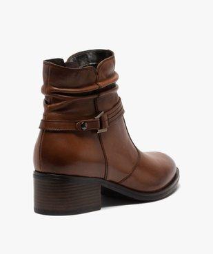 Boots femme à talon large et tige plissée en cuir vue4 - GEMO (CASUAL) - GEMO