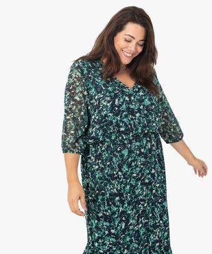 Robe femme longue imprimée à manches 3/4 vue2 - GEMO (G TAILLE) - GEMO