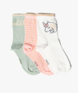 Chaussettes fille avec motifs licorne (lot de 3) vue1 - GEMO (ENFANT) - GEMO