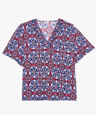 Tee-shirt femme  à motifs fleuris et col V smocké vue1 - GEMO (G TAILLE) - GEMO