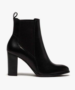 Boots femme à talon dessus style chelsea en cuir uni vue1 - GEMO(URBAIN) - GEMO