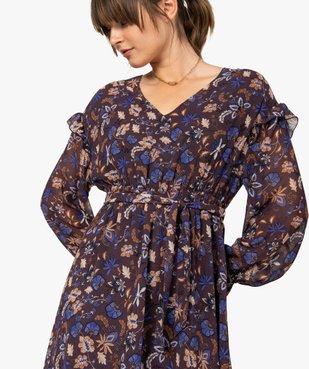 Robe femme courte en voile à motifs fleuris vue2 - GEMO(FEMME PAP) - GEMO