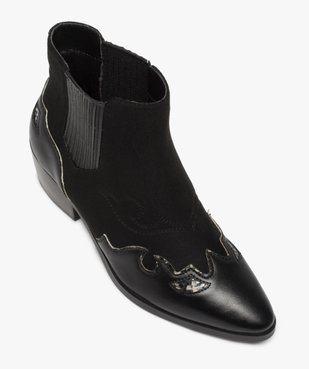 Boots femme style santiags multimatières à col élastiqué vue5 - Nikesneakers (CASUAL) - Nikesneakers