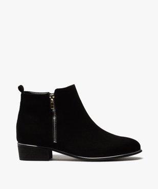 Boots fille en suédine avec talon carré et détails métallisés vue1 - GEMO (ENFANT) - GEMO