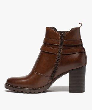 Boots femme à talon rainuré dessus en cuir uni vue3 - GEMO(URBAIN) - GEMO