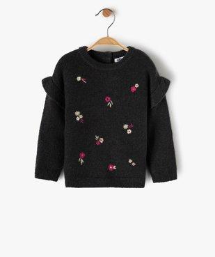 Pull bébé fille avec motifs fleurs brodés et volant aux épaules vue1 - GEMO(BEBE DEBT) - GEMO