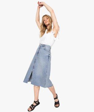 Jupe femme en jean longueur mollets – Lulu Castagnette vue5 - LULUCASTAGNETTE - GEMO