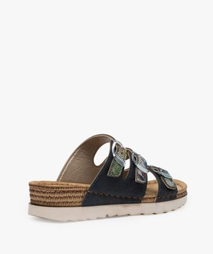 Sandales confort femme mules à talon compensé colorées vue4 - GEMO (CONFORT) - GEMO