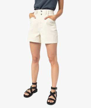 Short femme en toile de coton taille haute vue1 - GEMO(FEMME PAP) - GEMO