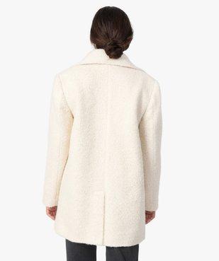 Manteau femme mi-long en matière bouclette à col tailleur vue3 - GEMO(FEMME PAP) - GEMO