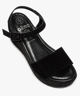 Sandales femmes unies en suédine à talon compensé vue5 - GEMO(URBAIN) - GEMO