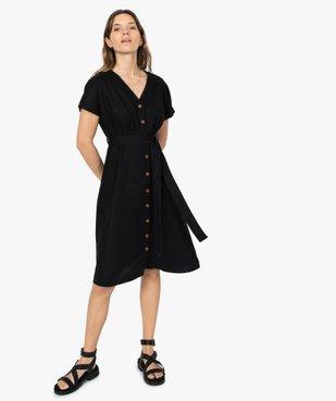 Robe femme boutonnée en lin/viscose vue1 - GEMO(FEMME PAP) - GEMO