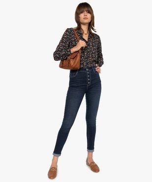 Jean femme skinny brut à taille haute et boutonnière vue5 - GEMO(FEMME PAP) - GEMO