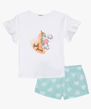 Pyjashort fille avec motif licorne et cœurs vue1 - GEMO (ENFANT) - GEMO