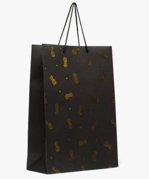 Sac cadeau en papier imprimé recyclé ananas doré vue1 - GEMO C4G FEMME - GEMO