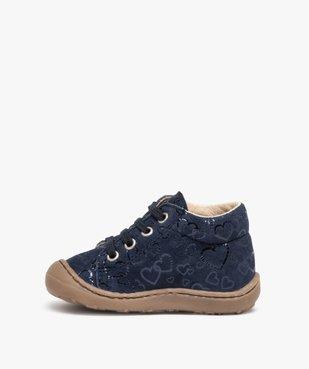 Chaussures premiers pas bébé fille dessus cuir retourné vue3 - Nikesneakers(BEBE DEBT) - Nikesneakers