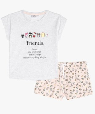 Pyjashort fille bicolore à motifs - Hello Kitty vue1 - HELLO KITTY - Nikesneakers