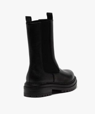 Boots femme unies style chelsea à semelle épaisse et crantée vue4 - GEMO (CASUAL) - GEMO