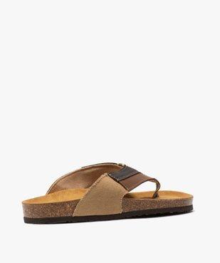 Sandales homme à bride entre-doigts en toile et cuir vue4 - GEMO (CASUAL) - GEMO