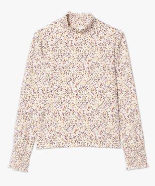 Tee-shirt femme col montant à motif fleuri vue4 - GEMO C4G FEMME - GEMO