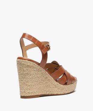 Sandales femme à talon compensé dessus imitation croco vue4 - GEMO(URBAIN) - GEMO