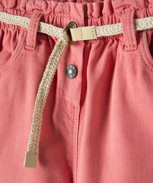 Pantalon bébé fille en toile avec ceinture tressée vue2 - GEMO(BEBE DEBT) - GEMO
