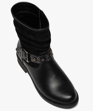 Boots femme style motardes unies à talon plat vue5 - GEMO (CASUAL) - GEMO