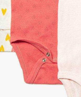 Body bébé fille à bretelles motifs cœurs (lot de 3)  vue2 - GEMO C4G BEBE - GEMO