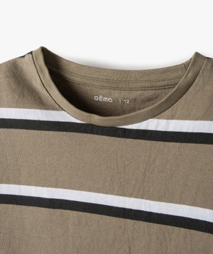 Tee-shirt garçon rayé à manches courtes 100% coton biologique vue2 - GEMO C4G GARCON - GEMO