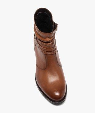 Boots femme à talon large et tige plissée en cuir vue5 - GEMO (CASUAL) - GEMO