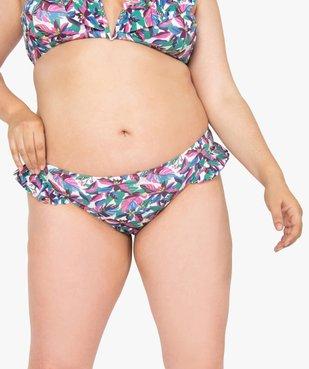 Bas de maillot de bain imprimé avec volants sur les hanches vue1 - GEMO (PLAGE) - GEMO