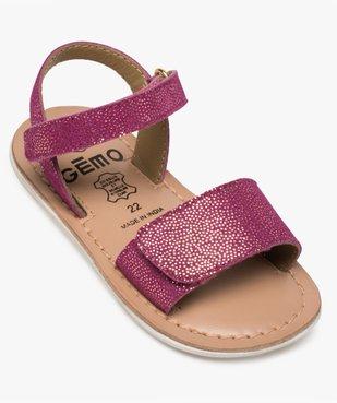 Sandales bébé fille en cuir pailleté brides à scratch vue5 - GEMO(BEBE DEBT) - GEMO