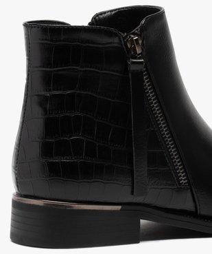 Boots femme unis à talon plat imitation croco vue6 - GEMO (CASUAL) - GEMO