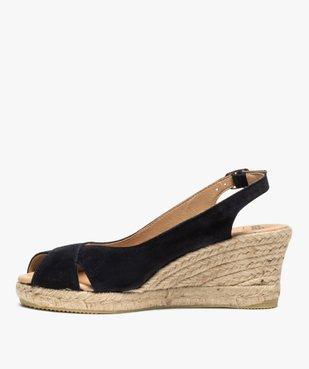 Sandales femme à talon compensé et dessus cuir velours vue3 - GEMO(URBAIN) - GEMO