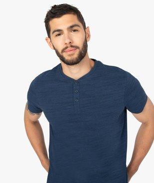 Tee-shirt homme chiné à manches courtes et col tunisien  vue2 - GEMO C4G HOMME - GEMO