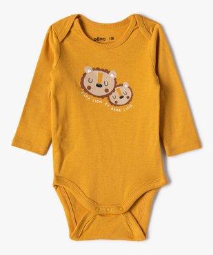 Body bébé garçon manches longues motifs lionceaux (lot de 3) vue3 - GEMO(BB COUCHE) - GEMO