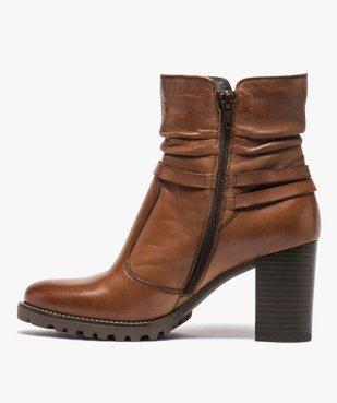 Boots femme à talon dessus cuir uni et brides décoratives vue3 - GEMO(URBAIN) - GEMO