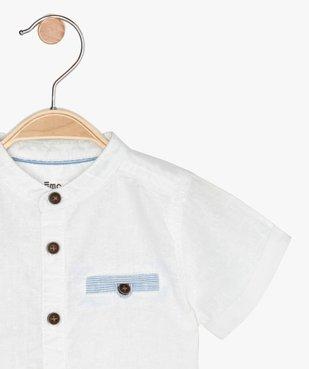 Chemise bébé garçon à col mao en lin et coton vue2 - GEMO(BEBE DEBT) - GEMO