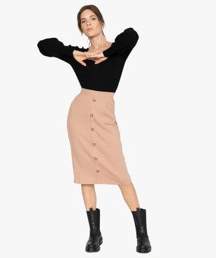 Jupe femme longueur midi coupe droite en maille côtelée vue5 - GEMO(FEMME PAP) - GEMO