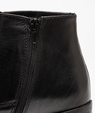 Boots femme à talon dessus cuir uni fermeture lacets vue6 - GEMO(URBAIN) - GEMO