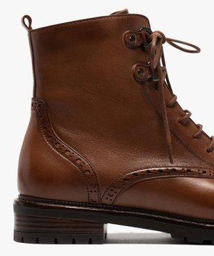 Boots femme à lacets dessus cuir à bordures fleuries vue6 - GEMO (CASUAL) - GEMO