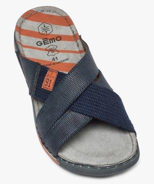 Sandales homme à larges brides croisées en textile vue5 - GEMO (CASUAL) - GEMO