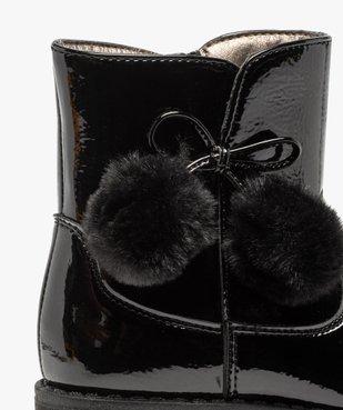 Boots fille vernies avec pompons sur le côté vue6 - GEMO (ENFANT) - GEMO